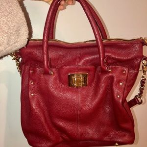 Kelsi Dagger Deep Red Leather Bag
